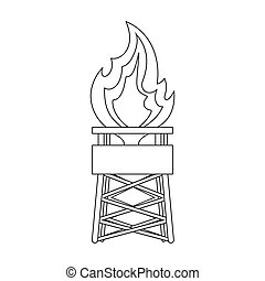 Gas tower. Oil single icon in outline style vector symbol stock illustration web.