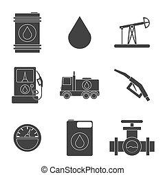 Gas trade vector icon set