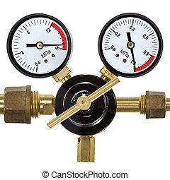 gas, tryk regulator, hos, manometer, isoleret, på hvide,...