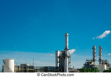 Gas turbine electrical power plant. Energy for support factory in industrial estate. Natural gas tank. Small gas power plant. Power plant using natural gas for fuel. Green energy. Generate electricity