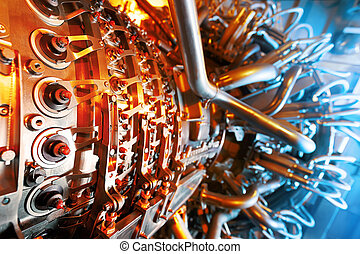 Gas turbine engine located inside the aircraft. Clean energy in a power plant used on an offshore oil and gas refining central platform. Oil gas, ecology and clean energy concept
