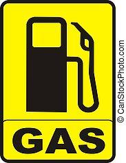 gas, underteckna, varning, pump