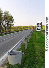 gas, vägmärke