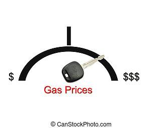gas valora, dinero, concepto