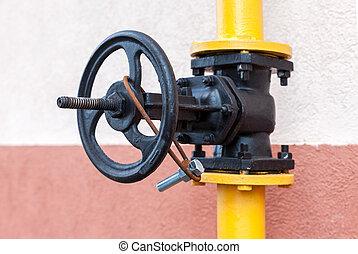 Gas valve on the tube