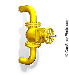 Gas valve, yellow. 3D render.
