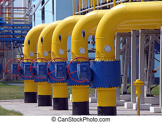 Gas valves are on the gas compressor station
