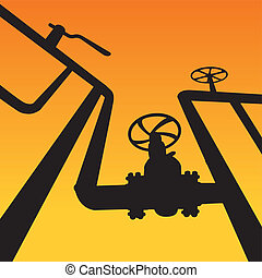 Gas valves over sunset - Industrial zone, Steel pipelines...