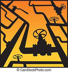 Gas valves over sunset