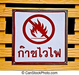 gas, varning, hasard, lättantändlig skylt