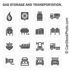 Gas vector icon - Gas storage and transportation icon sets.