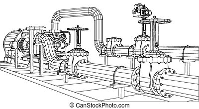 gas, vector, olie, tien, af het bakenen, pump., 3d., ...