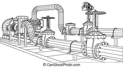gas, vektor, oel, 10, verfolgen, pump., 3d., ausrüstung, eps, wire-frame, format, industrie, abbildung