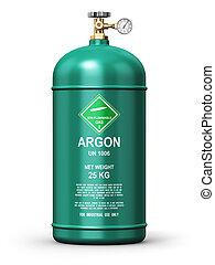 gas, verflüssigt, argon, industrie, behälter