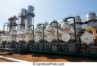 gas, verwerking, factory., aanzicht