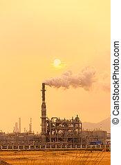 gas, verwerking, factory., landscape, met, gas, en, olie industrie