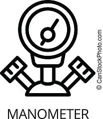 Gas welder manometer icon, outline style - Gas welder...
