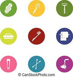 Gasket icons set, flat style - Gasket icons set. Flat set of...