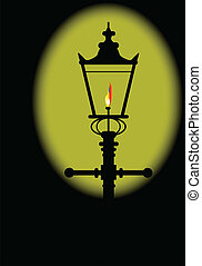 Gaslight - A typical old London gaslight with flame and...