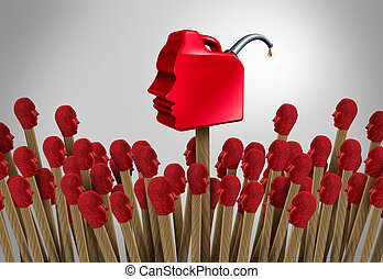Gaslighting psychology as a social manipulating concept using psychological communication to destabilize as matches shaped as people with a dangerous gas cannister to fan the flames as a 3D render.