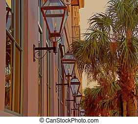 Gaslights of Charleston - A photograph of gaslights along a ...