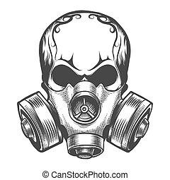 gasmaske, totenschädel