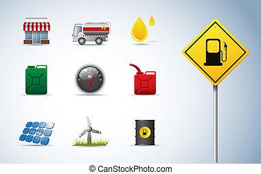 gasolina, aceite, y, energía, iconos