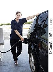 gasolina, bombear, homem