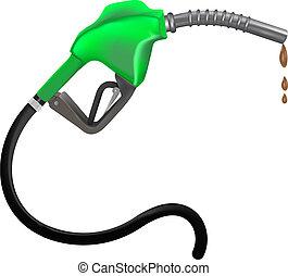 gasolina, boquilla, vector, ilustración