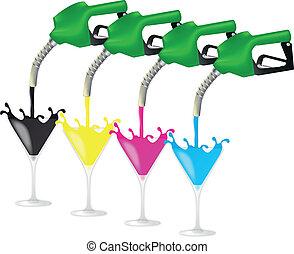 gasolina, cmyk, bomba