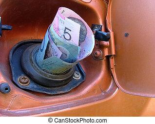 gasolina, dinero