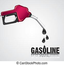 gasolina, escoando, distribuidor