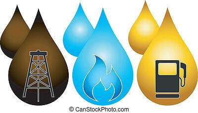 gasolina, gota, óleo, gás