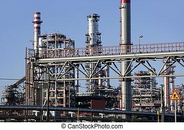 gasolina, planta química, equipo, destilería, aceite