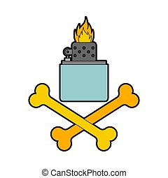 gasolina, símbolo., ilustración, pyro, vector, encendedor, crossbones.