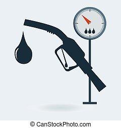 gasolina, sinal., bomba gás, estação, medida, icon., bocal