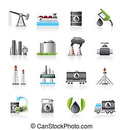 gasolina, y, industria de petróleo, iconos