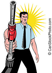 Illustration of gasoline attendant worker holding fuel pump nozzle done in retro style.