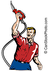 Gasoline Attendant Fuel Pump Nozzle - Illustration of...
