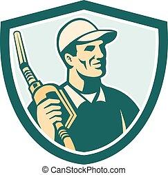 Gasoline Attendant Fuel Pump Nozzle Shield - Illustration of...