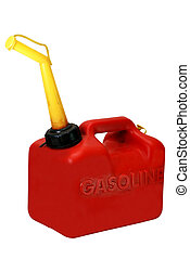 Gasoline can isolated on white background with clipping path.