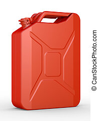 Gasoline canister - Gasoline jerrican on a white background