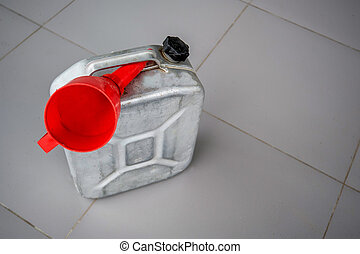 Gasoline canister with red funnel - Petrol metal can with...