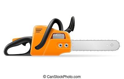 gasoline chainsaw vector illustration
