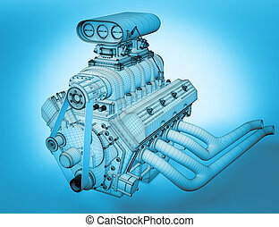Gasoline engine - 3D render frame gasoline engine body...