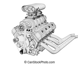 Gasoline engine - 3D render frame gasoline engine