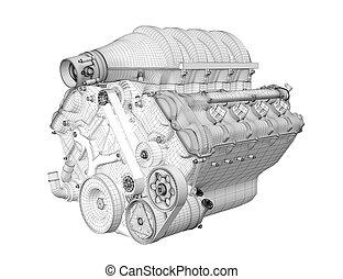 Gasoline engine - 3D render frame gasoline engine