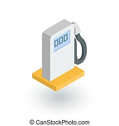 gasoline filling station, column isometric flat icon. 3d...
