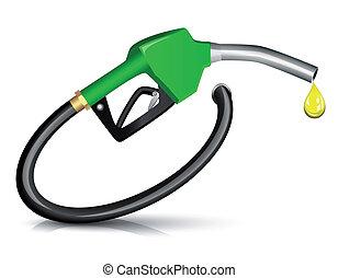Gasoline fuel nozzle - Gasoline Fuel Nozzle giving a drop