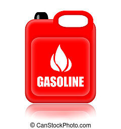 Gasoline Jerrycan - Gasoline canister isolated over white...